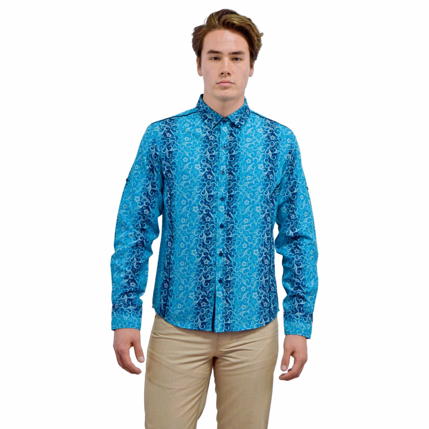 Mens Long Sleeve Button Down Dress Shirt Floral By