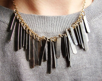 Steel Pendant Statement Necklace