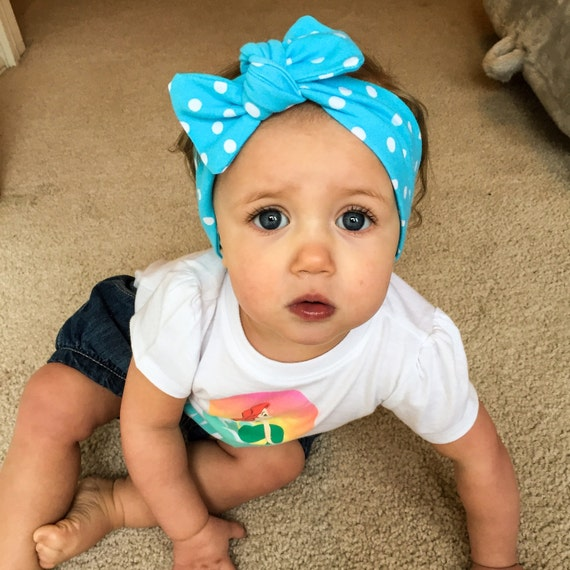 Polka Dot Blue Top Knot Headwrap!