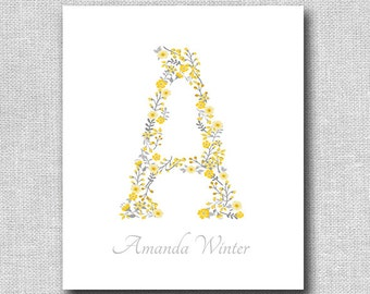 Baby Girls Floral Nursery Art - Floral Monogram with Babies Name - Nursery Decor - Baby Shower Gift - Personalized New Baby Gift