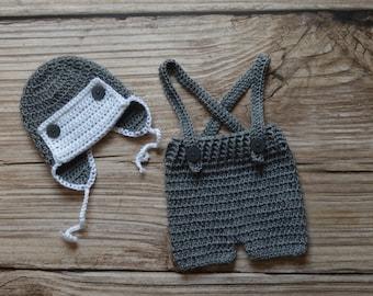 Crochet Set - Aviator - Newborn - Baby - Visor hat and suspenders short set Photo Prop Set  - Photography Prop