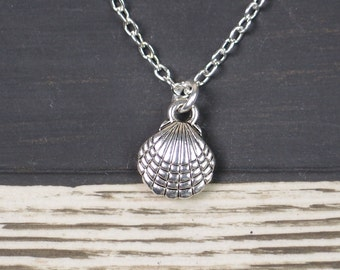 tiny sea shell necklace, long necklace option, silver shell charm on silver plated chain, beach wedding, bridesmaid gift, bridesmaid jewelry