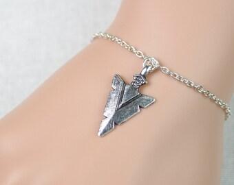 arrowhead bracelet, sterling silver filled, silver arrowhead charm on silver chain, bohemian jewelry, native american, adjustable bracelet