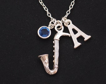 saxophone necklace, sterling silver filled, initial necklace, birthstone necklace,silver 3D saxophone charm on silver chain,music instrument