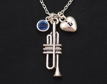 initial necklace, trumpet necklace, birthstone necklace, long necklace option, silver trumpet charm on silver plated chain,trumpet gift