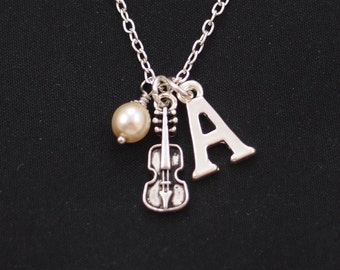 initial necklace, tiny violin necklace, Swarovski pearl choice, musical jewelry, musician gift, string instrument charm, cello necklace