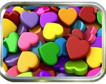 Love hearts design 2oz gold tobacco tin,pill box,storage tin