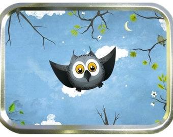 Blue flying owl design 2oz gold tobacco tin,pill box,storage tin
