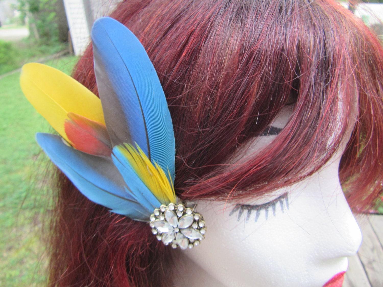 Feather Hair Clip Hair Accessories High Fashion Tropical Jungle