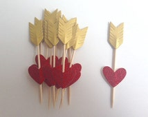 Heart and Arrow Wedding Party Gold and red glitter Cupcake Toppers