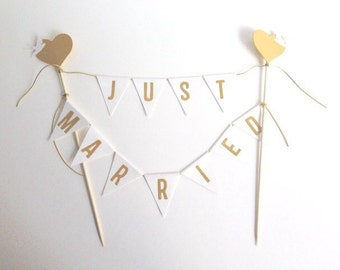 Wedding Cake Bunting Personalised Cake Topper White and Gold
