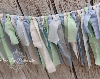 Blue Green White Fabric Strip Banner / Rag Tie Garland, Photography Banner, Bridal / Baby Shower / Wedding Banner, Fabric Decor