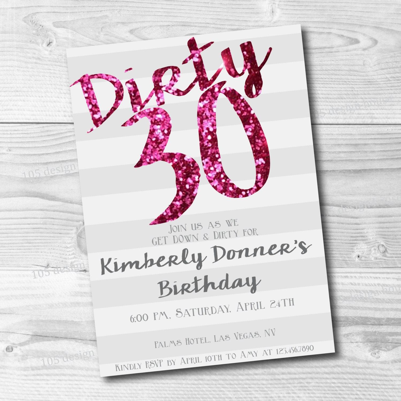 Dirty Thirty Invitation Printable Dirty 30 Dirty Thirty