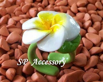 Ring Plumeria flower, jewelry ring, flower ring, ring clay, flower clay ring, clay ring
