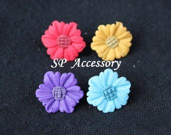 flower earrings, clay earrings, sweet flower earrings, colorful earrings, earrings clay