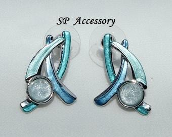 Unique earrings, Green Blue Earrings, stainless steel earrings, jewelry earrings