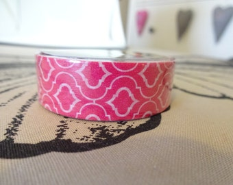 Washi bright pink tape with pattern 10 m/11 yards crafting tape washi tape decorative cardmaking tape scrapbook tape
