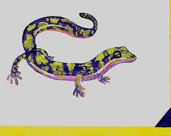 "Original Acrylic Painting 5x7"" Green Salamander Art"