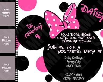 Personalised Minnie Mouse Invitations