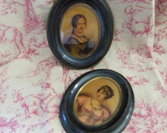 2 ANTIQUE French FRAMED PRINTS.  Woman miniature portraits with headdress