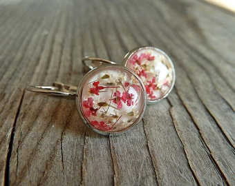 Blossoms Earrings Cabochon Jewelry Silver, Red/ White