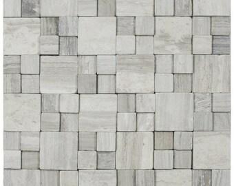 Hand Made 3D Stone Tile - 3D Light Grey Blocks Stone Tile - Use for Mosaics, Showers, Flooring, Backsplashes and More!
