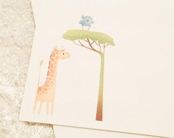 Children's Thank You Cards-Giraffe Safari Note Cards Stationery-Baby Shower Thank You Cards-Set of 10
