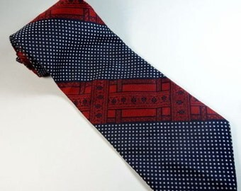 Vintage 1970s Wide Tie Vesuvio ITALY Made Stripe Red Blue Necktie