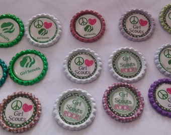 14 Girl Scouts bottle cap magnets cupcake toppers gift refrigerator troops Scout