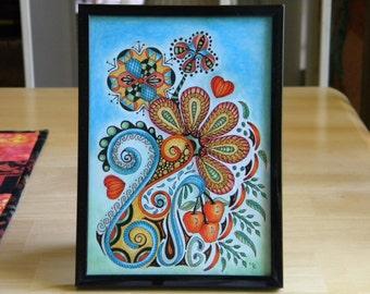 """5"""" x 7"""" Tabletop Framed Tangled Art - """"Sally Garden"""""""