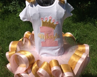 Princess Birthday tutu outfit - pale pink and gold - first birthday, second, third, fourth, fifth, sixth birthday