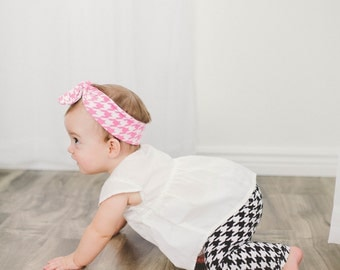 Black and White Houndstooth Baby Leggings, Baby Leggings, Infant Leggings, Knit Leggings, Baby Pants, Made To Order
