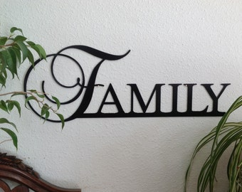 Family wall hanging, metal family sign, the word family in metal, black with a hint of sparkles. Lg Family sign - 40, Sm Family sign 20.