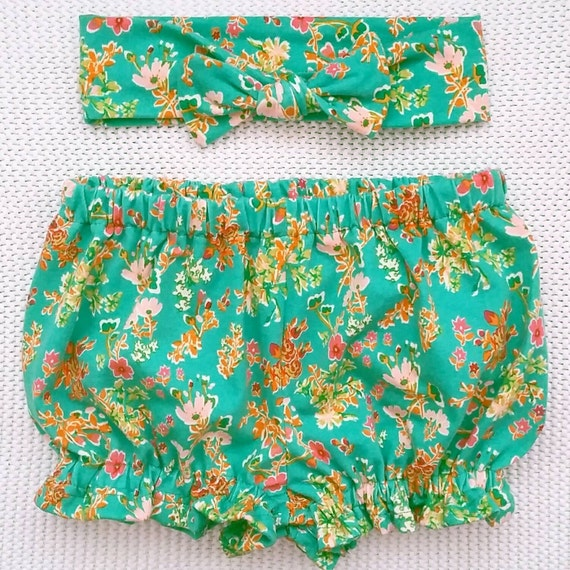 Baby girl knit bloomers and headwrap set Jane by LavenderParade