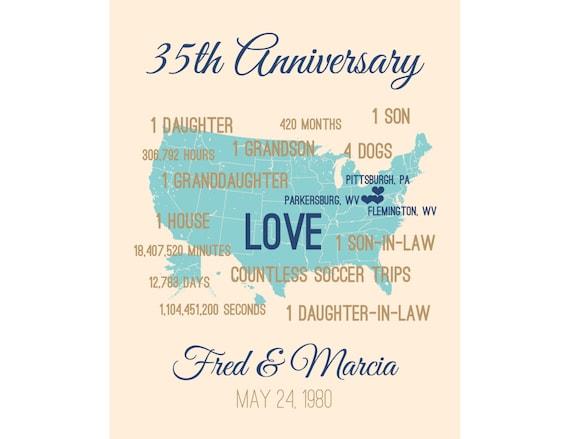 35 Year Wedding Anniversary Gifts: 35th Wedding Anniversary Gift, 35 Wedding Anniversary Gift