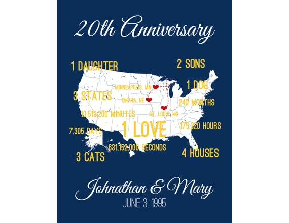 40th Wedding Anniversary Gifts For Husband: Personalized Anniversary Gift Anniversary Gift For By