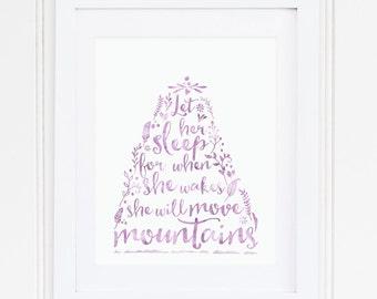 PURPLE, Nursery Wall Art, Nursery Decor, Watercolor, Let her sleep, Nursery Quote, Toddler Room, Modern, PRINTABLE, Instant Download