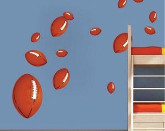 Football Wall Decals, Football Wall Art Stickers, Kids' Room Football Decals, Football Wall Murals for Kids, Bedroom Football Designs, d98