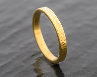 Welsh Gold and 18ct EcoGold Hammered Wedding Ring