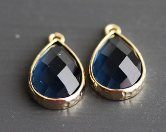A2-099-G-MO] Montana / 11 x 16mm / Gold plated / Teardrop / Glass Pendant / 2 pieces