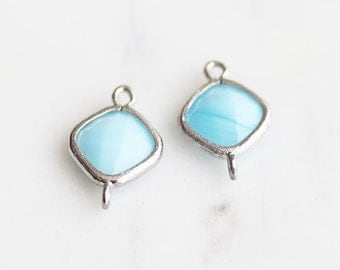 A2-114-R-MB] Milk Blue / Rhombus / 10mm / Rhodium plated / Glass Pendant Connector /  2 pieces