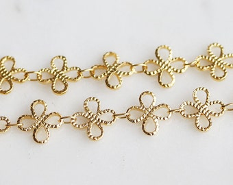 B5-94-G] Gold plated / 10mm / Daisy Flower Chain / 1 meter