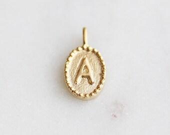 """P0-680-MG-A] Oval Initial """"A"""" / 5 x 10.5mm / Matt Gold plated / Pendant / 2 piece(s)"""