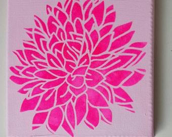 "1e:""Bright Lotus"" Neon pink on soft pink  2e:""White Lotus on aqua"" canvas 20 x 20 cm"