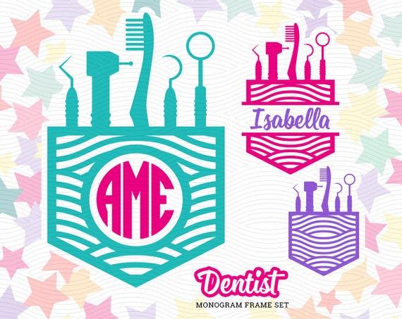 Dentist Monogram Frame Svg Eps Dxf Studio3 Medical Cut