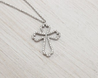 Cross Necklace, Cubic Zirconia Modern Necklace, Layering Necklace, Every day Necklace