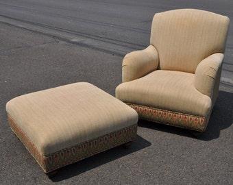 Brunschwig & Fils Club Chair And Ottoman