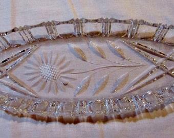 Vintage Cut Glass Relish Tray