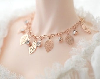 Gold leaf necklace for ball jointed dolls