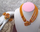 Vintage necklace set, beaded necklace, 40s necklace, demi parure, tangerine orange, jewelry set,  lovely 6E5